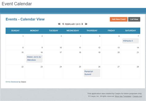 app event calendar website caspio blog