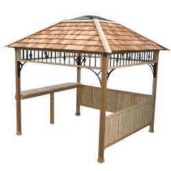 Lowes Patio Gazebo Shop Outdoor Living Today Cedar Wood Grill Gazebo Foundation 9 Ft X 9 Ft At Lowes