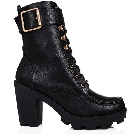 buy ramble heeled platform biker ankle boots black leather