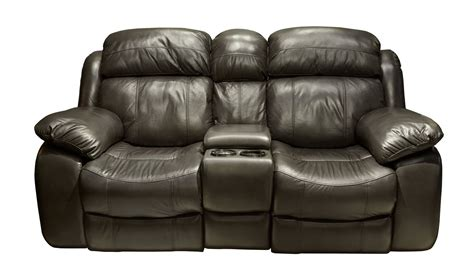 St Morris Upholstery by Como Grey Leather Match Power Reclining Loveseat With