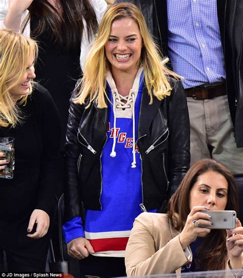 big fans careers margot robbie she cheers on the york rangers at an
