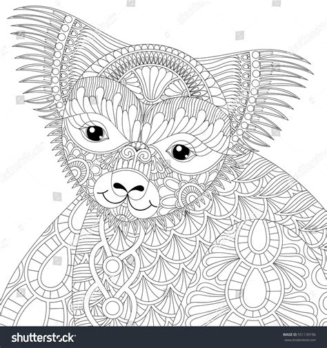 koala adults coloring book stress relief coloring book for grown ups books vector zentangle happy friendly koala stock vector
