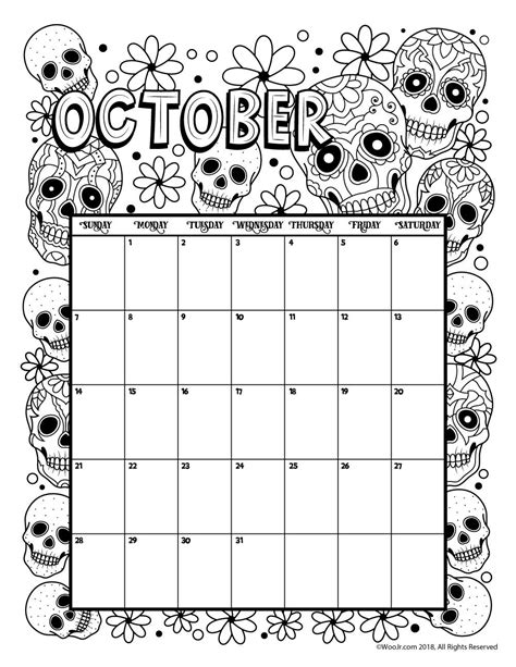 Coloring Page 2018 by October 2018 Coloring Calendar Page сделай сам