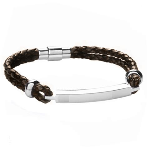 mens leather id bracelets a mens id bracelet brown leather stainless steel can