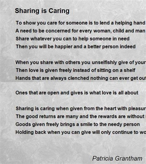 And Caring Essay by Is Caring Poem By Grantham Poem