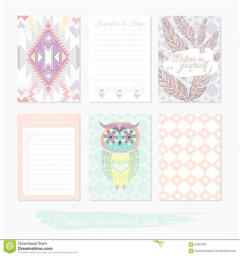 design journal posters printable cute set of filler cards with aztec pattern owl