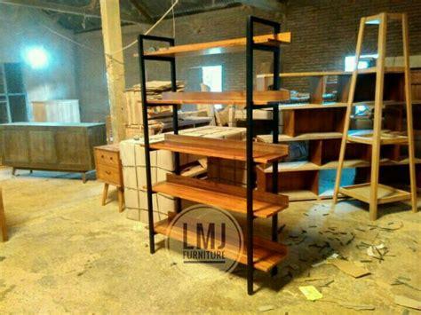 Rak Buku Metal jual rak buku rak hias industrial kayu jati kombinasi