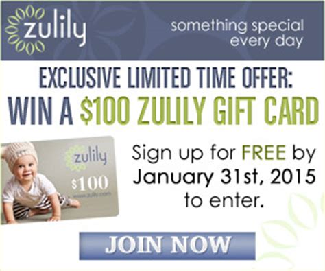Zulily Gift Cards - enter to win a 100 zulily gift card ends 1 31 2015 the shopper s apprentice