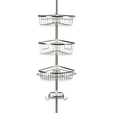 stainless steel shower caddy corner rivercrest tension corner shower caddy in stainless steel www bedbathandbeyond