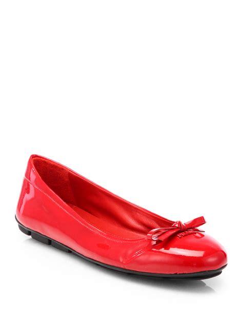Prada Flats lyst prada patent ballet flats in