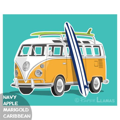 volkswagen van with surfboard clipart surfing vw bus clipart