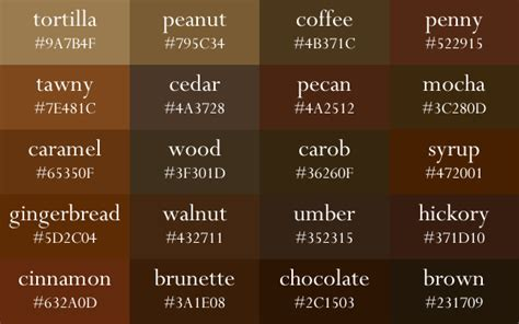 names of brown colors image result for brown color names brown names brown