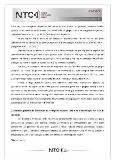 A liquidação da sentença coletiva trabalhista otavio calvet