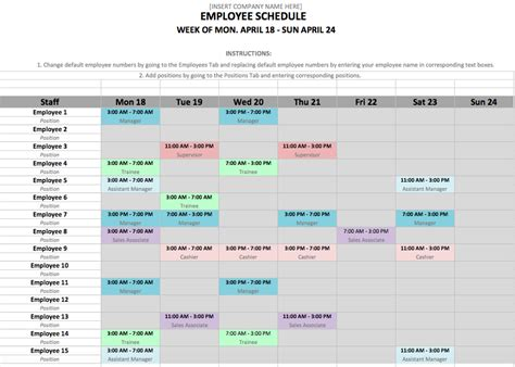 schedule template excel microsoft excel schedule template for employee shift