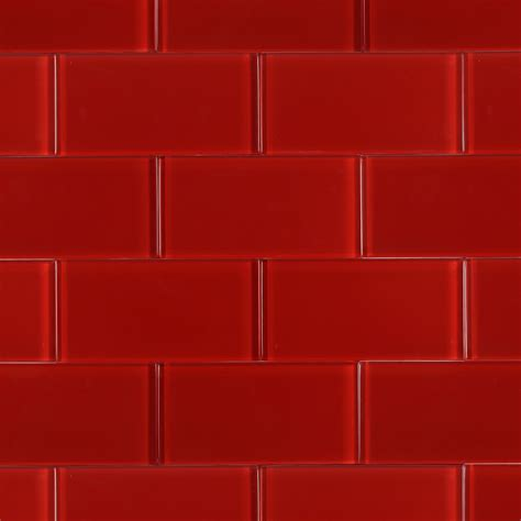 Sample Backsplashes For Kitchens by Shop For Loft Cherry Red Polished 3x6 Glass Tile At