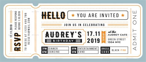 birthday invitation ticket card by totemdesigns graphicriver