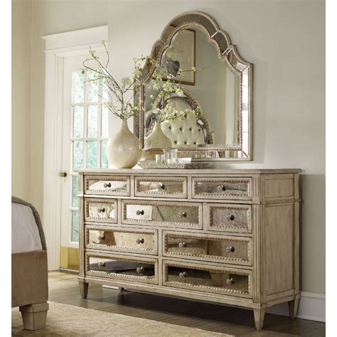 Mirrored Bedroom Dresser Furniture Sanctuary 10 Drawer Mirrored Dresser Dressers At Hayneedle