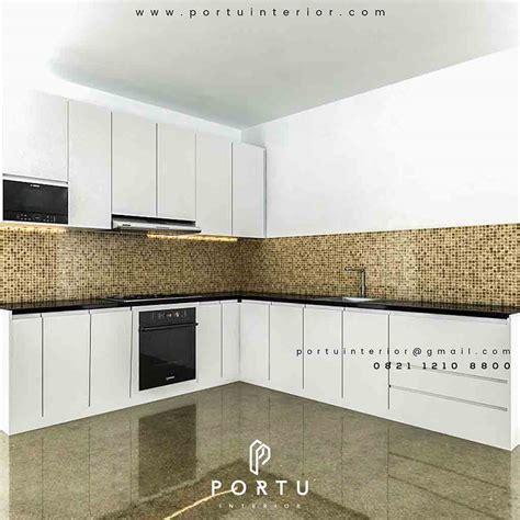 desain kitchen set minimalis warna putih bentuk  portu