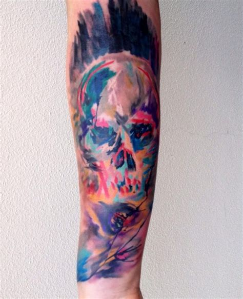 skull watercolor tattoo by ondrash design of