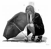 Lonely Cartoon Girl Black And White Crying Wallpaper For Mobile