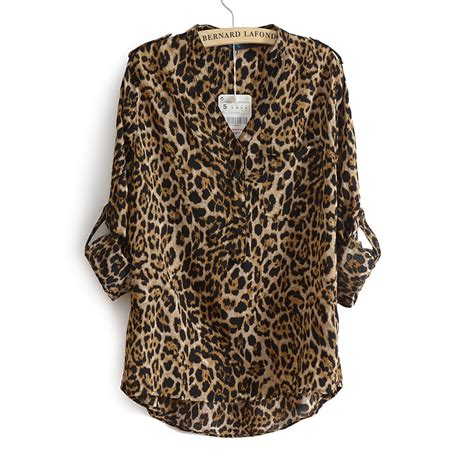 Jy60287 Sleeves Blouse Atasan Top Leopard Collar 2014 casual stand collar leopard print chiffon shirt top plus size