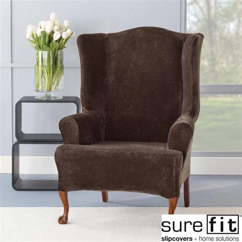 Accent Chair Slipcover Sure Fit Stretch Plush Chocolate Wing Chair Slipcover Contemporary Armchairs And Accent