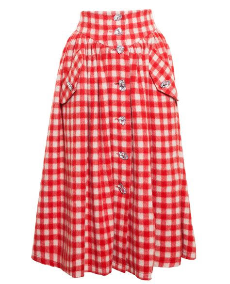 awake gingham skirt with crystals in lyst