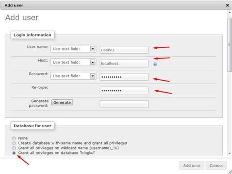 membuat database user dengan xp cara membuat database dengan xampp