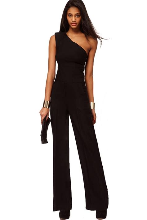 One Shoulder Black Jumpsuit black one shoulder chic jumpsuit 004099 rompers
