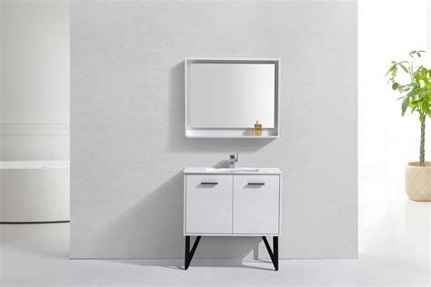 36 Inch High Bathroom Vanity by 36 Inch High Gloss White Bathroom Vanity With Quartz