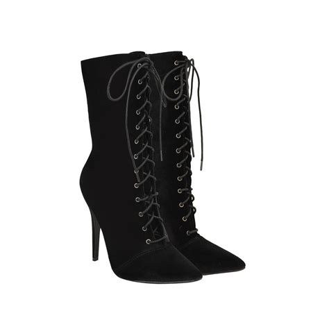 high heel boot shoes black velvet pointed toe lace up high heel stiletto ankle