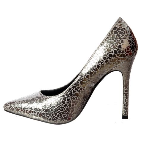 onlineshoe mid heel pointed toe glitter court shoes