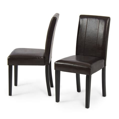 Leather Parsons Dining Room Chairs Set Of 2 Modern Design Leather Parsons Dining Living Chairs Furniture Ebay