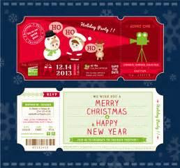 cartoon christmas party tickets vector free vector