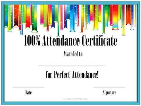 Perfect Attendance Award Certificates Attendance Award Template