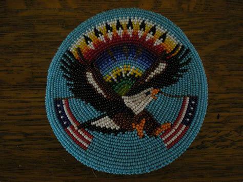 american paiute or shoshone beaded eagle and flags