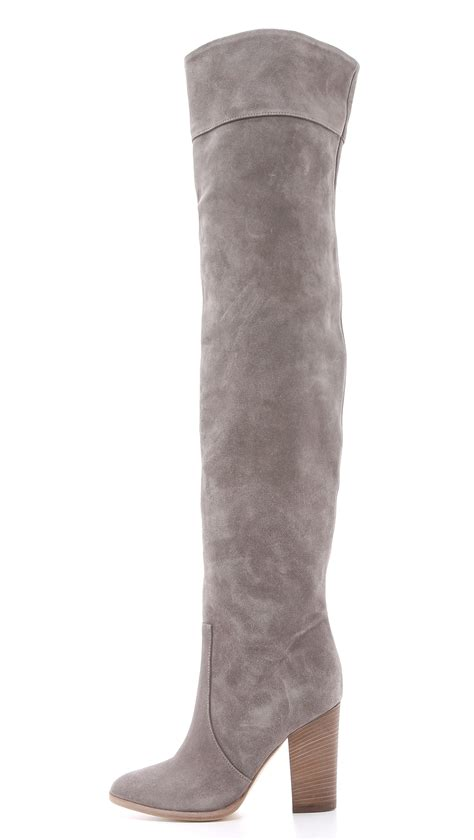 gray suede boots lyst club monaco the knee suede boots grey