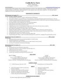 Compliance Specialist Sle Resume cecilia de la torre resume compliance specialist