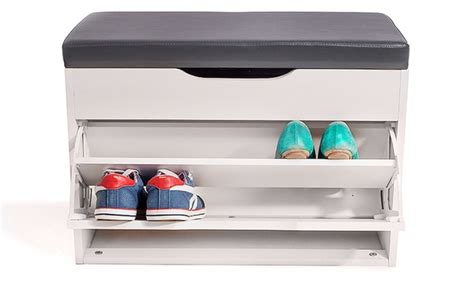 shoe seat storage hallway shoe storage seat groupon