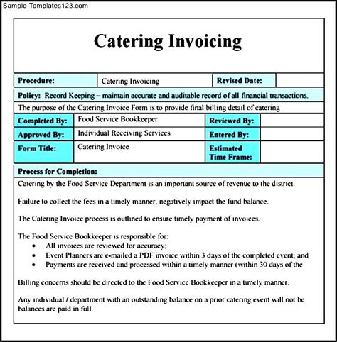 basic catering invoice sle templates