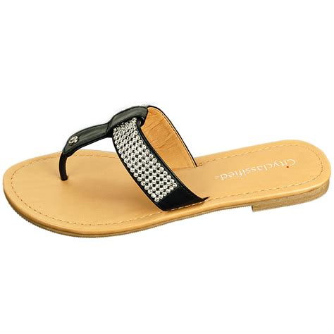 Sandal T Fashion s rhinestone sandals t thongs slip on flats