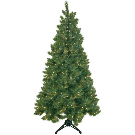 what artificial pre lit chridtmas are at home depot general foam 6 5 ft pre lit half artificial tree with clear lights hd ht65c20 the