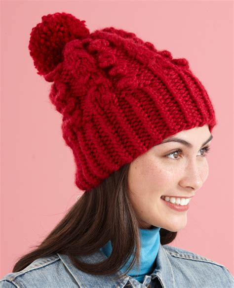 knit hat pattern thick yarn cable vision hat in lion brand wool ease thick quick