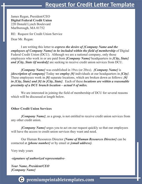 request credit letter template letter templates