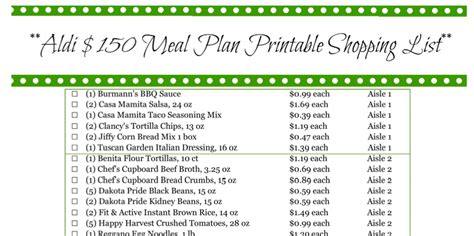 aldi printable shopping list how to make 25 meals from aldi for under 150