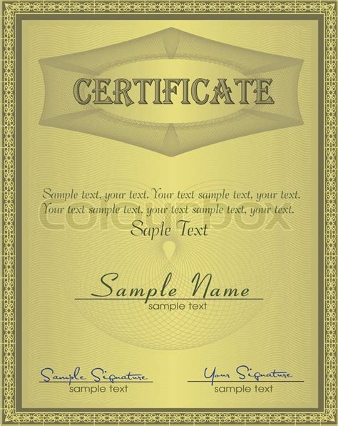 coupon certificate template certificate guilloche coupon certificate template security