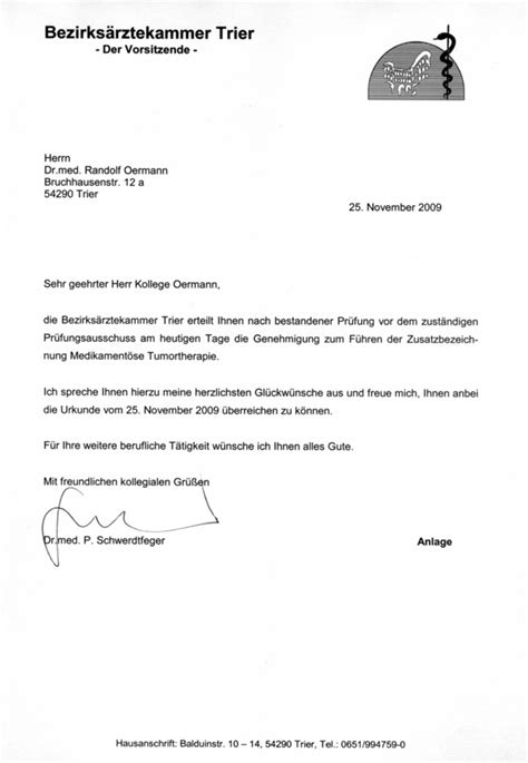 Anschreiben Anrede Doktor Praxis Dr Med Randolf Oermann Facharzt F 252 R Urologie Qualifikationen Zertifikate
