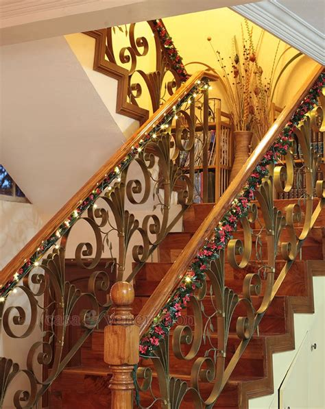garland for staircase with lights decorating idea garlands and lights on the
