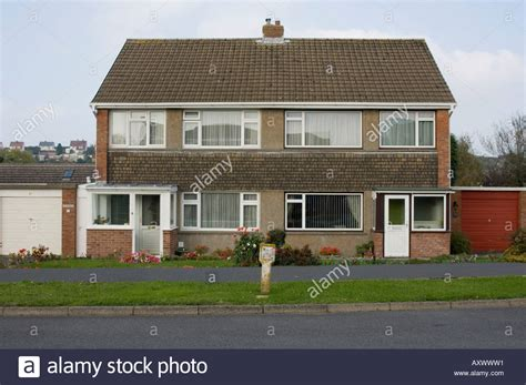 buying a house privately uk a 1960s semi detached house on a private housing estate aberystwyth stock photo