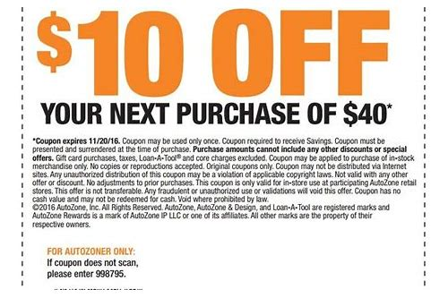 autozone coupon code february 2018